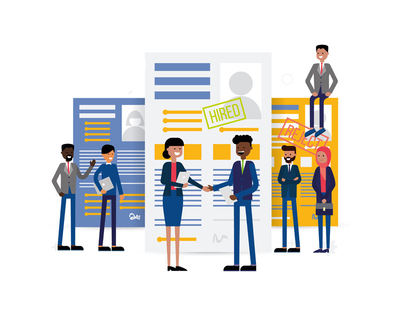 Hire Developers & QA Separately (cartoon of business people shaking hands in front of large contracts in the background. Business people are Black, Asian, Latinx, and white men and women)