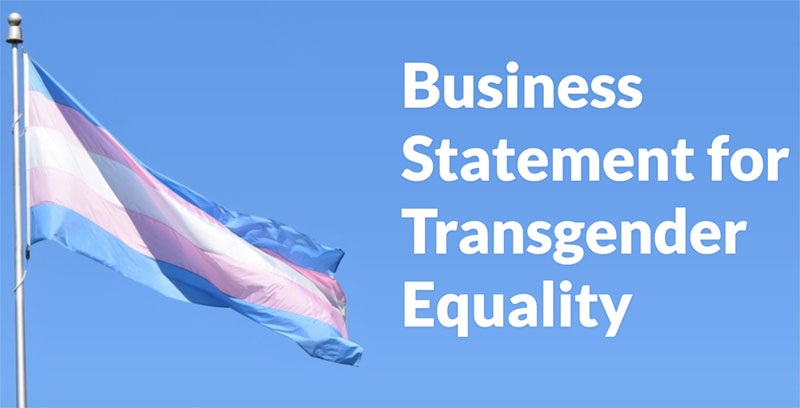 Business for Trans Equality Statement (image shows transgender pride flag)