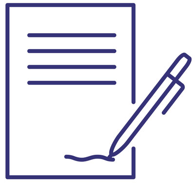 QA Onboarding Process Contract (contract icon with pen signing at bottom)