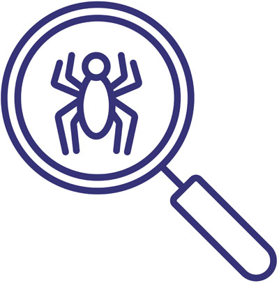 QA Onboarding Process (magnifying glass icon with bug in it)