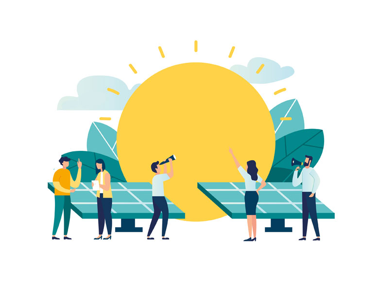 Carbon Neutral Business (cartoon showing a giant sun with clouds and leaves behind it, and solar panels in front of it. Crtoon men and women in business casual are talking in front of the solar panels and pointing at the sun)