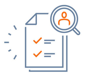 QA Recruiters (image depicts an icon of a piece of paper with check marks on it, and a magnifying glass showing an icon of a person in it)