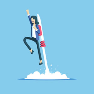 QA Manager Promotion (cartoon businesswoman with jet pack strapped to her back)