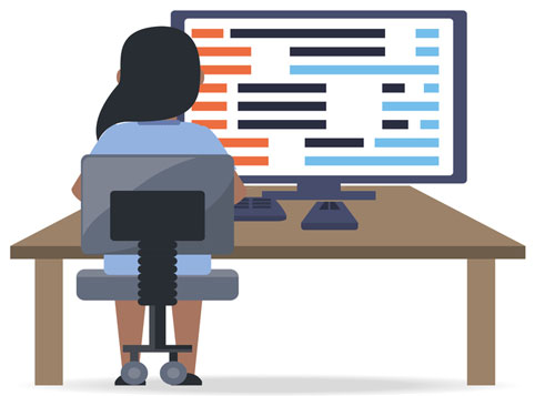 API Testing Services (woman QA tester sitting at computer with code on the screen)