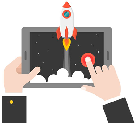 Performance Testing Services (QA tester hands on a tablet showing a rocketship coming out)