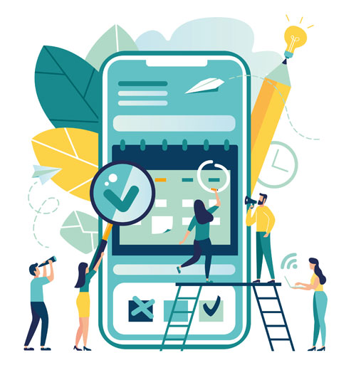 Mobile App Testing Services (QA testers with magnifying glasses in front of an iPhone or Android)