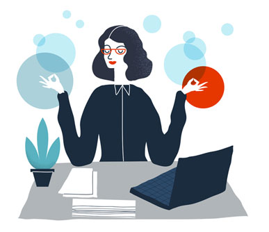 QA Career Stress (cartoon QA tester woman meditating at desk)