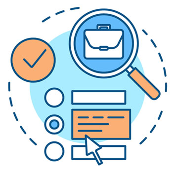QA Career Advice (graphic shows magnifying glass over briefcase with checkmark icon)