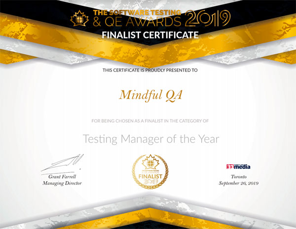 North American Software Testing Awards Certificate
