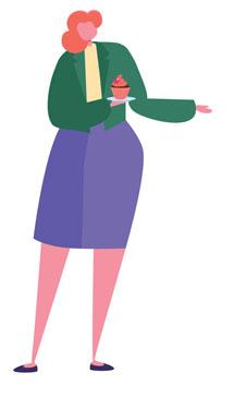 QA Skills (cartoon QA tester holding a cupcake)