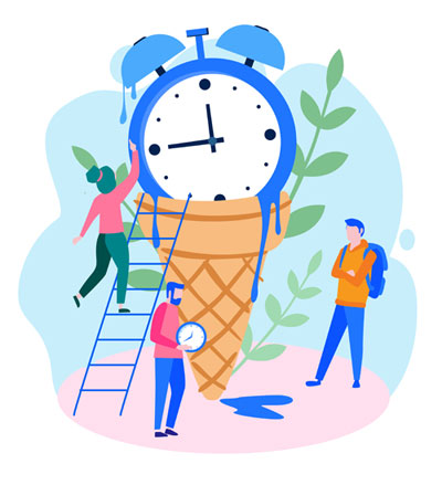 Late Night On Call Work Boundaries (clock icon melting onto an ice cream cone, surrounded by people)
