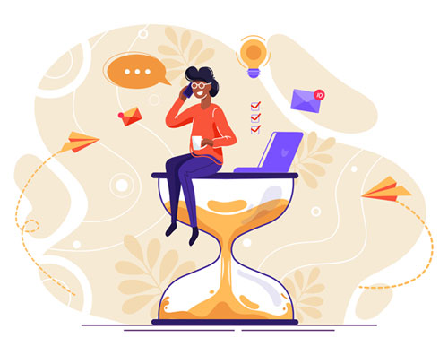 Workload Boundaries (person sitting on an hourglass with a laptop, talking on a mobile phone)