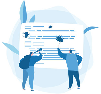 Two testers reviewing bug reports