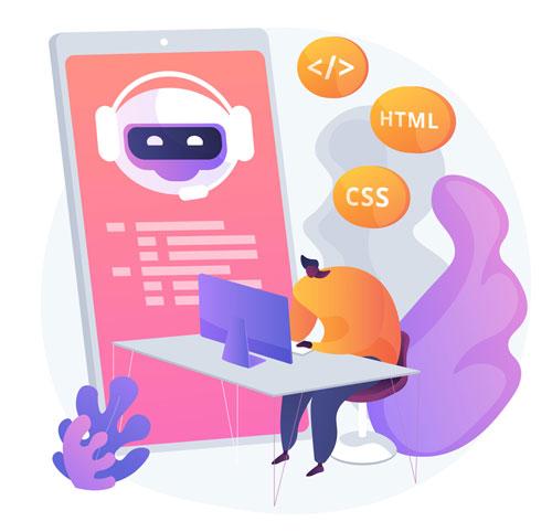 Website tester sitting at computer
