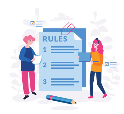 """Two cartoon people standing next to a sheet of paper titled """"Rules"""" and numbered from 1 to 3"""