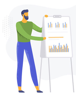 Image of man showing graphs on how to prioritize browsers for testing