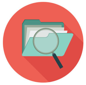 Magnifying glass icon on folder
