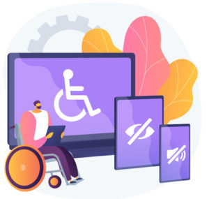 Person with beard sitting in wheelchair in front of screens showing icons indicating visual and hearing impairments